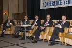 The recent RealShare Medical Office Conference capital markets panel discussion included (from left to right) moderator Al Pontius of Marcus & Millichap and panelists John Winer of Seavest, Ashley Harkness of KeyBank, James Groves of Siemens and John Marshall of Duke Realty. Photo courtesy of RealShare