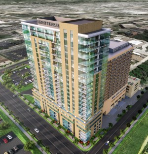 The $73.25 million, 23-story, 325,000 square foot River Tower at Trinity Terrace in Fort Worth, Texas, is the largest of four independent living projects Pacific Retirement Services plans to develop or expand on its CCRC campuses this year. Rendering courtesy of Pacific Retirement Services
