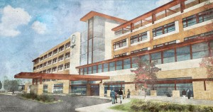 St. Elizabeth's Hospital and Hospital Sisters Health System recently announced plans for a $300 million, 144-bed replacement for their Belleville, Ill., hospital. The new campus is planned for a 114-acre site in nearby O'Fallon, Ill. (Rendering courtesy of St. Elizabeth's Hospital)