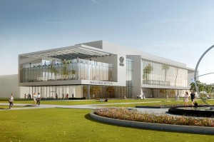 A $1.2 billion expansion at Loma Linda University Health will include an $823 million hospital addition as well as this $60 million research facility, which will house the Center for Discovery and the Wholeness Institute.  (Rendering courtesy of Loma Linda University Health)