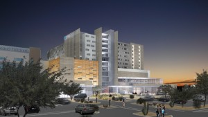 Phoenix-based Banner Health is moving forward with plans for a new 11-story, 336-patient room, 689,000 square foot tower at Banner-University Medical Center Tucson, Ariz., replacing a 40-year-old section of the existing hospital. (Rendering courtesy of Banner Health)
