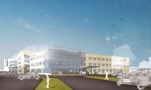 Duke Realty recently began the development of and pre-leasing for a new three-story, 75,000 square foot medical office building (MOB) in McKinney, Texas, its second on the campus of Baylor Medical Center at McKinney. (Rendering courtesy of Duke Realty)