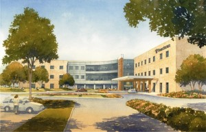 A new 120-bed replacement hospital by Franciscan Alliance is planned for a site just outside of Michigan City, Ind. The new facility is slated to feature up to 120 all-private inpatient rooms, outpatient services and a medical office building. (Rendering courtesy of Franciscan Alliance)