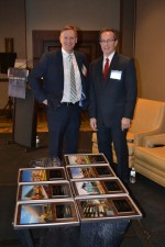 Healthcare Real Estate Insights™ Editor John B. Mugford (left) and Publisher Murray W. Wolf posed with the 2015 HREI Insights Awards™ before the Dec. 3, 2015, presentation in Scottsdale, Ariz. HREI™ photo