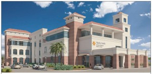 Here's a look at one of the four smaller, neighborhood hospitals planned for the Las Vegas metropolitan area by Dignity Health and Emerus. The facility shown is the future Sahara campus. Rendering courtesy of Dignity Health Nevada