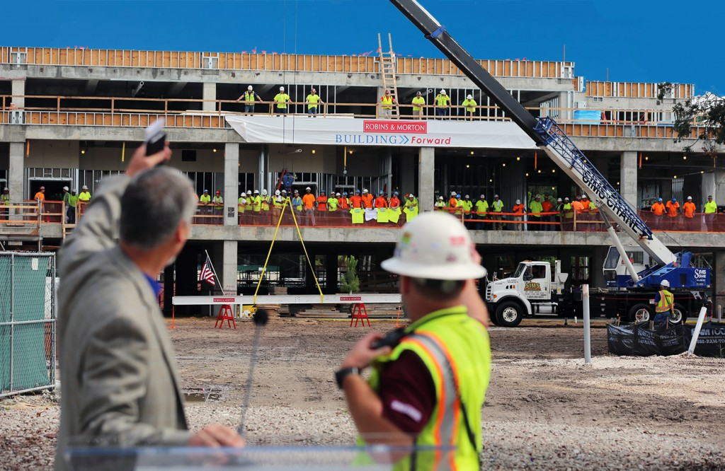 Florida Hospital Carrollwood recently celebrated the topping out of its planned $71 million expansion and renovation project. (Photo courtesy of Florida Hospital Carrollwood)
