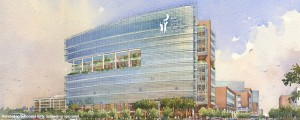 The future $385 million, 10-story, 625,000 square foot Shawn Jenkins Children's Hospital and Pearl Tourville Women's Pavilion at the Medical University of South Carolina in Charleston will replace the current children's hospital on the campus. (Rendering courtesy of MUSC)
