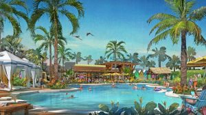 A Canadian development firm and a company part-owned by Jimmy Buffett plans to develop a massive senior housing community with 6,900 residences in Daytona Beach, Fla., that would have a Margaritaville theme, based on the singer's hit song. (Rendering courtesy of Minto Group)