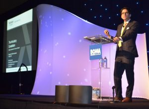 Ethan Brosowsky of The Advisory Board told BOMA MOB conference attendees that providers must create interconnected ambulatory care networks to succeed in today's highly competitive market. (HREI™ photo)