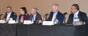 The recent BOMA MOB conference panel on third-party capital partners included (from left to right), moderator Andy Dow of Winstead, Courtney Hanfland of CHI, Deeni Taylor of Physicians Realty Trust, Joe Euphrat of CleanFund Commercial and Lance Mendiola of Christus Health. (HREI photo)