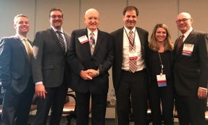 """The """"Trends and Market Forces"""" panel at InterFace Healthcare West included (from left to right): moderator Todd Varney of NexCore, Carl Nelson of Orcutt 