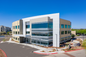 MedProperties Group encountered several unexpected issues during the development of the three-story, 58,647 square foot Mercy Medical Commons II, adjacent to the Dignity Health Mercy Gilbert Medical Center in the Phoenix suburb of Gilbert, Ariz. (Photo courtesy of MedProperties Group)